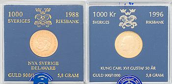 GULDMYNT, två stycken, Jubileumsmynt 1000 kr, 1988 respektive 1996.
