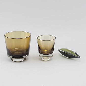 KAJ FRANCK, 3 skålar, glas, Nuutajärvi Notsjö, signerade och daterade -57 och -60.