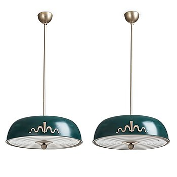 304. Harald Elof Notini, a pair of ceiling lamps, Böhlmarks, Sweden, 1930's.