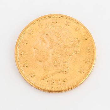 GULDMYNT, fine gold, 20 dollars, Liberty, USA. 1897.
