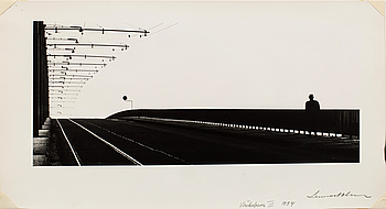 LENNART OLSON, gum print, 'Västerbron III 1954', signed and dated.