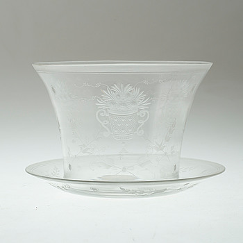 BOWL AND SAUCER, glass, Sweden, 1920s.