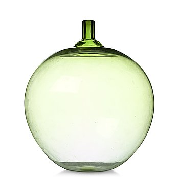 "5. INGEBORG LUNDIN, a green ""Apple"" glass vase, Orrefors, Sweden."
