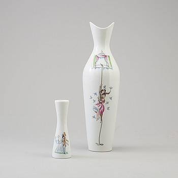 two porcelain vases by Raymon Peynet for Rosenthal om the mid 20th century.