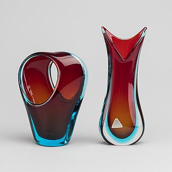 VASER, 2 st, glas, Murano, 1900-talets mitt.