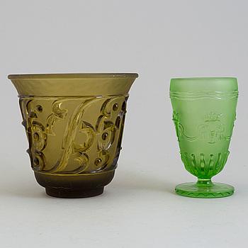 EDVIN OLLERS, vaser, 2 st, glas, Elme Glasbruk, 1920/30-tal.