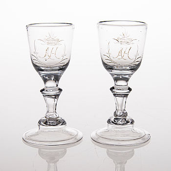 A PAIR OF WINE GLASES, 18th century.
