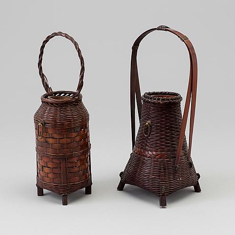 Two japanese ikebana baskets, meiji (1868 1912)