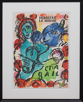 MARC CHAGALL, MARC CHAGALL, colour lithographe, not signed, cover of Derrière le Miroir nr 198 1972.