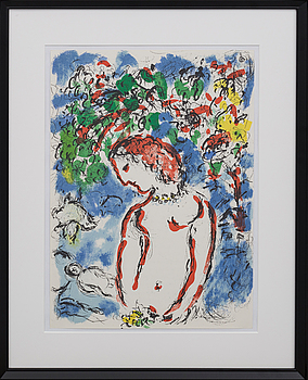 MARC CHAGALL, MARC CHAGALL, colour lithographe, not signed, from Derrière le Miroir nr 198, 1972.