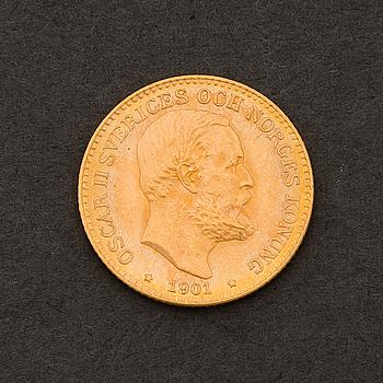 GULDMYNT, 10 kronor, Oscar II, Sverige-Norge, 1901.