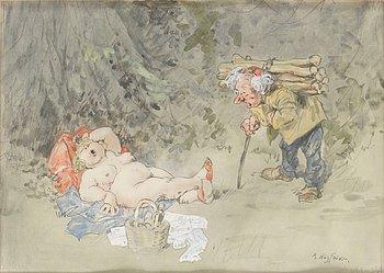 1123. Robert Högfeldt, Luffaren och solbadande kvinna.