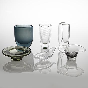 VICKE LINDSTRAND, 3 vaser & 3 skålar, glas, Kosta, signerade.