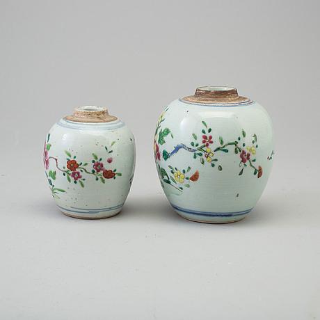 Two famille rose tea caddies, qing dynasty, qianlong (1736-95).