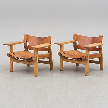 "BØRGE MOGENSEN, fåtöljer, ett par, ""Spanska Stolen"", Fredericia Stolefabrik, Danmark, 1900-talets andra hälft."