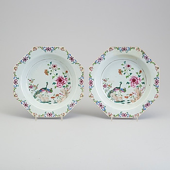 A pair of famille rose 'double peacock' soup dishes, Qing dynasty, Qianlong (1736-95).