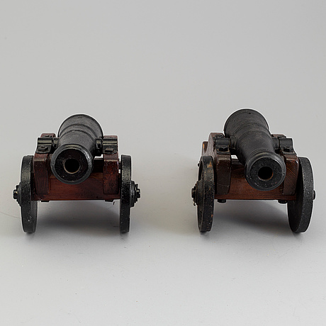 Two cast iron salute cannons, stafsjö bruk, 20th century