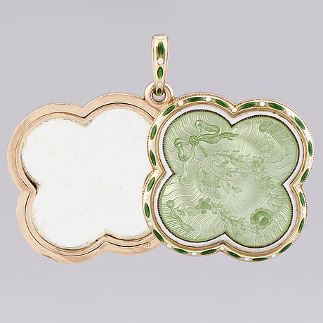 A fabergÉ medallion, enamel, 14k (56) gold. st petersburg 1899 1908