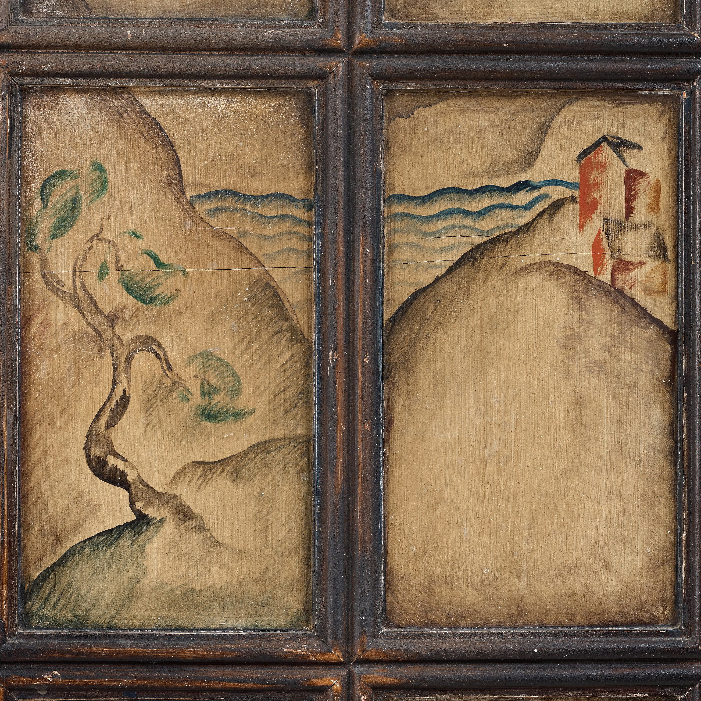 Tor Horlin A Swedish Grace Decorated Oak Cabinet Dated