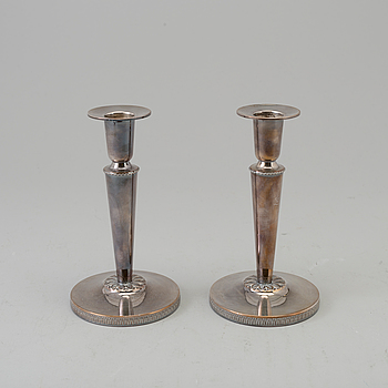 A pair of silver candelsticks by Ceson, Gothenburg 1978.