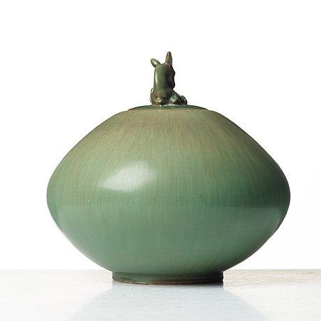 Gunnar nylund, urna med lock, rörstrand 1940-tal.