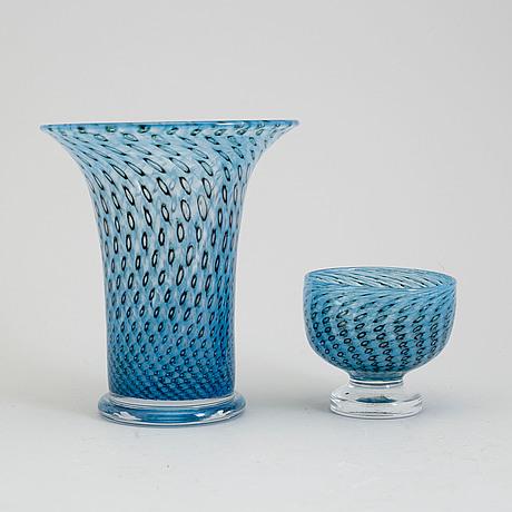 Bertil vallien, vas och skål på fot, boda glasbruk 1970 tal