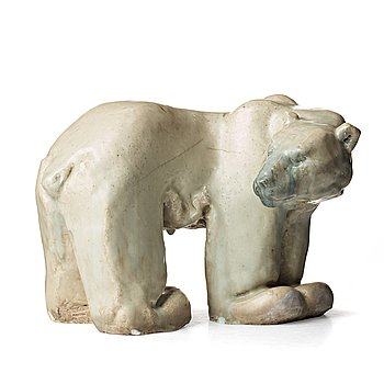 98. Michael Schilkin, a stoneware sculpture of a polar bear, Arabia, Finland 1945.