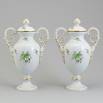 A pair of mid 20th century porcelain urns, Herend, Hungary.