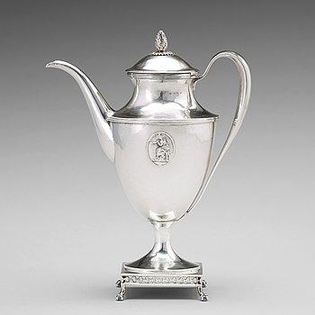 Petter Eneroth, kaffekanna, silver, Stockholm 1798, gustaviansk.