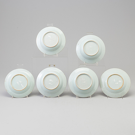 Six blue and white export porcelain dessert dishes, qing dynasty, qianlong (1736-95).