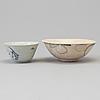 SkÅlar, två stycken, porslin. mingdynastin (1368-1644).