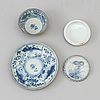 A blue and white box with cover and a tea cup with stand, qing dynasty, 18th century
