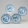 Four blue and white export porcelain plates, qing dynasty, qianlong (1736-95).