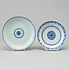 Two blue and white dishes, qing dynasty, qianlong (1736 95)