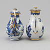 Two blue and white milk jugs with covers, qing dynasty, qianlong (1736 95)