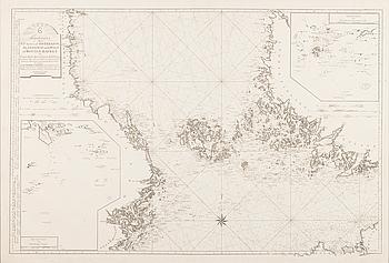 """KARTA, """"Passcharta öfer Nra delen af Östersjön, Ålandshaf med Sdm delen af Bottenhafwet"""". Stockholm 1790."""