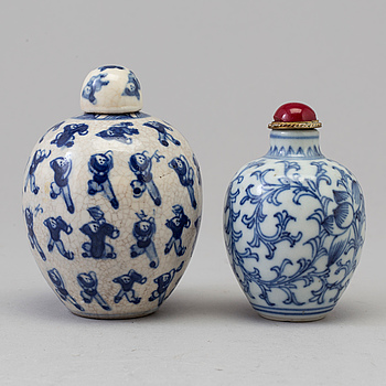 Two blue and white miniature jars, Qing dynasty, 19th Century.