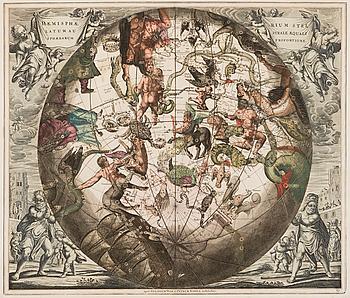 """KARTA, """"Haemisphaerium Stellatum Australe Aequali Sphaerarum Proportione"""", Petrus Schenk 1710."""