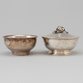 two silver bowls by Eric Råström and Borgila, Stockholm, 1946 and 1994.