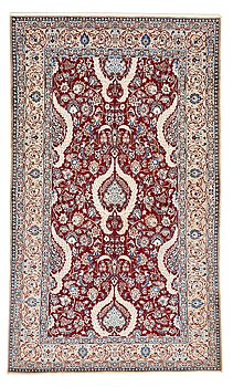 212. A CARPET, a semi-antique/old Esfahan/Nain part silk, ca 232,5 x 137,5 cm (as well as one end with ca 1 cm flat weave).