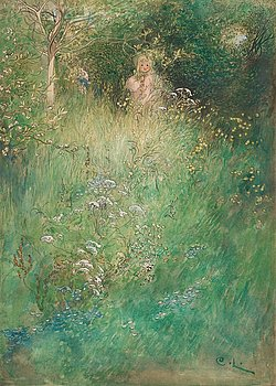 "509. Carl Larsson, ""Barn i skogen"" (Child in the woods)."
