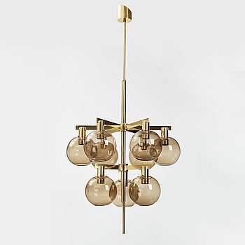 HANS-AGNE JAKOBSSON, HANS-AGNE JAKOBSSON, a brass and glass nine-light ceiling light from Markaryd, second half of the 20th century.