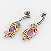 Earrings, 18k yellow and white gold, white and fancy coloured diamonds approx. 0.42 cts, amethyst, tourmaline & emerald.