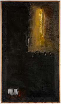 JAN NALIWAJKO, JAN NALIWAJKO, string and oil on canvas, signed and dated probably 1963.