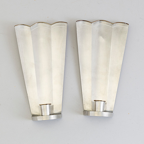 VÄgglampetter, ett par, tenn, firma svenskt tenn, stockholm, 1927