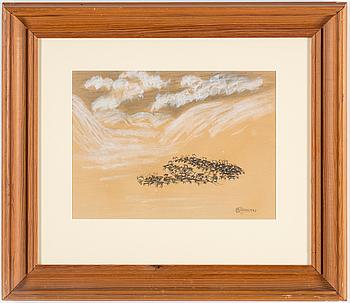 NILS NILSSON SKUM, teckning, signerad N.N. Skum och daterad 1943.