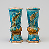 A pair of turkoise glazed alter vases, ming dynasty (1368-1644).