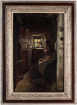 OKÄND KONSTNÄR, olja på duk, signerad I.L., 1800-tal.