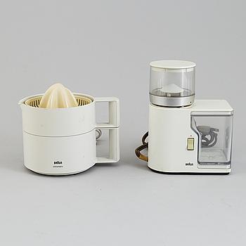 REINHOLD WEISS &  LUDWIG LITTMANN, coffee grinder and juicer, Braun.