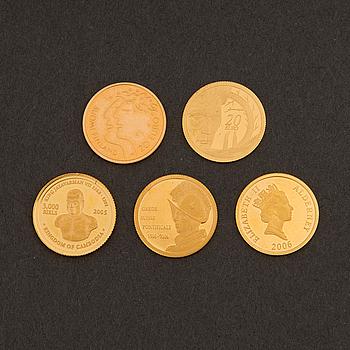 MINNESMYNT, 5 st, guld, 2000-tal.